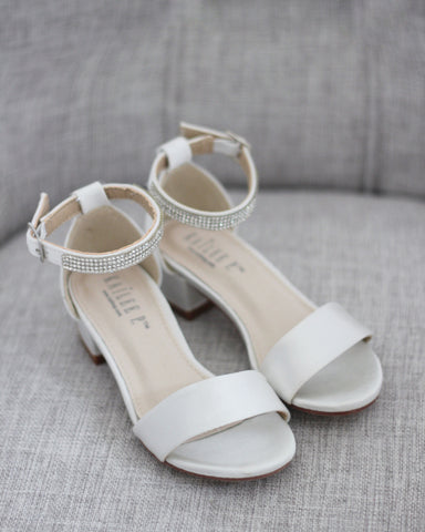 IVORY SATIN Block Heel Sandals