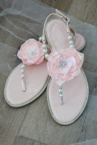 blush wedding sandals