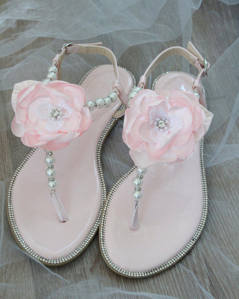 blush flower wedding sandals