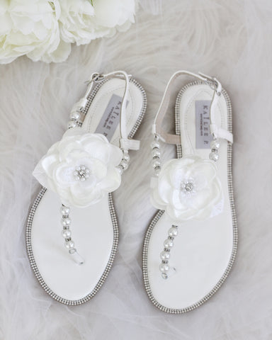 OFF WHITE Pearl Sandals With Rhinestones Embellishments with Flower