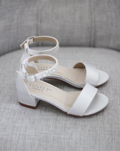 White Satin Block Heel Sandals with MINI RHINESTONES Embellished Ankle Strap