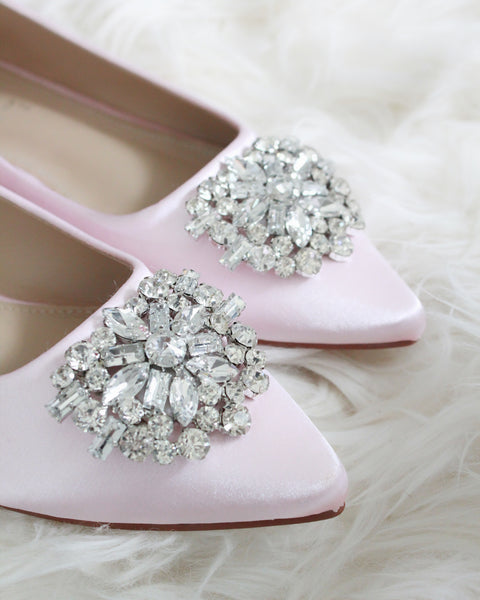 pink satin shoes with brooch