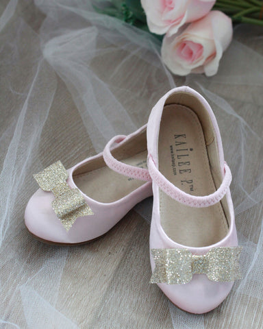 PINK Satin Maryjane Flats With Soft Gold Glitter Bow