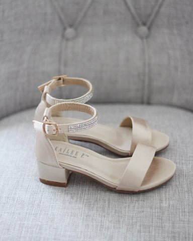 CHAMPAGNE SATIN Block Heel Sandals
