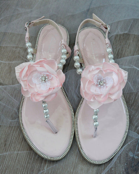 blush bridesmaid sandals