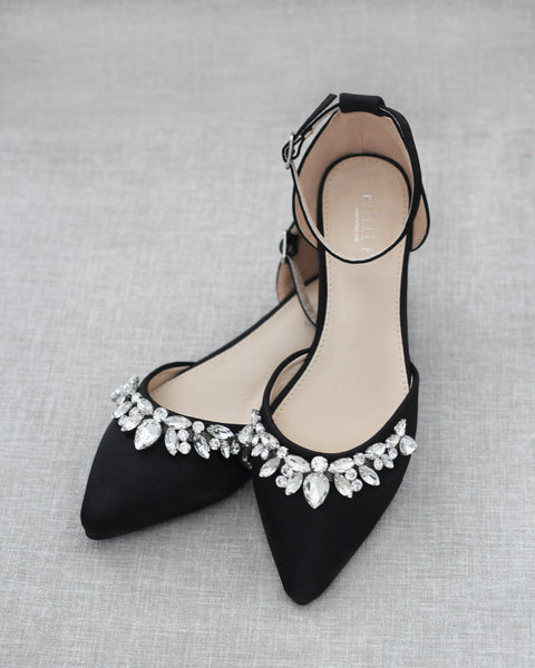 Black Satin Pointy Toe Flats with TEARDROP RHINESTONES Embellishments