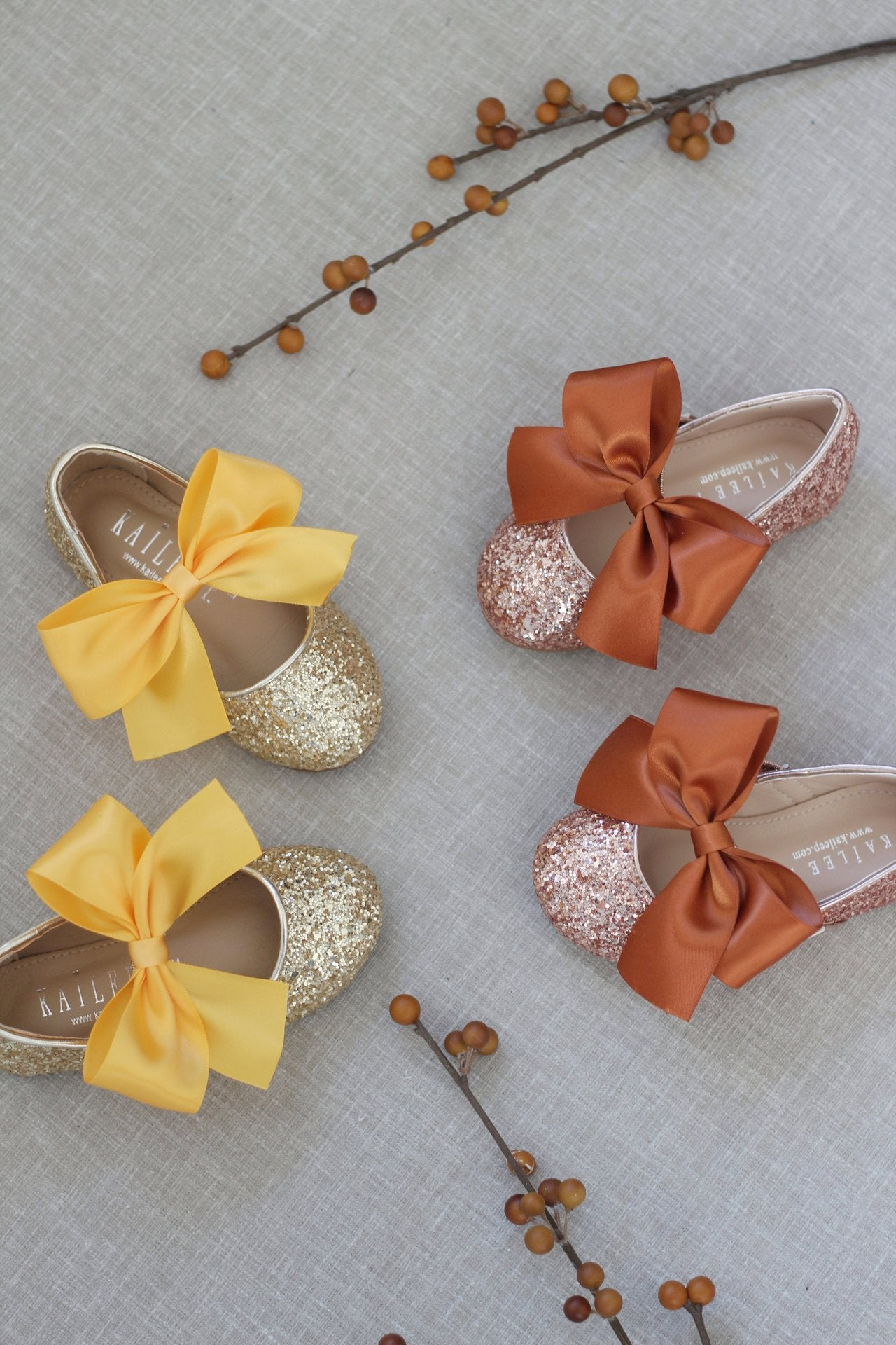 Silver glitter flower girls shoes