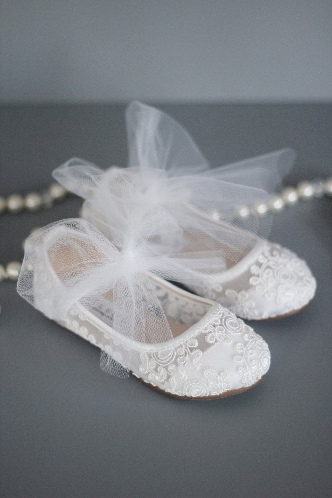 White Crochet Lace Shoes for girls - Flower Girls Shoes
