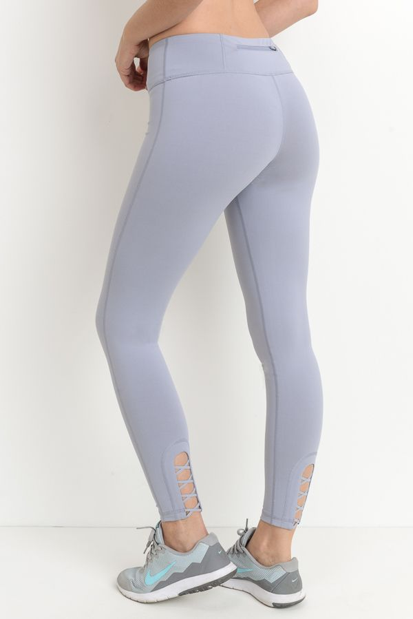 CRISSCROSS CUTOUT ACCENT LEGGINGS (LIGHT-BLUE)