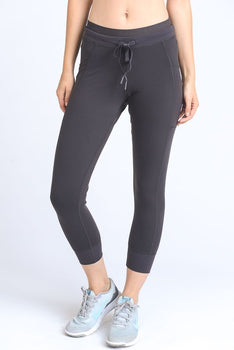 DRAWSTRING LEGGIGNS WITH SLANT POCKETS (CHARCOAL GRAY)