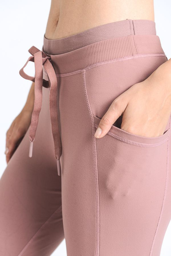 DRAWSTRING LEGGINGS WITH SLANT POCKETS (DUSTY ROSE)