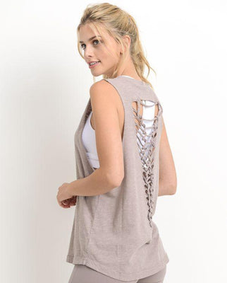 CUTOUT BACK MUSCLE TOP WITH LADDER STRAPS (DUSTY ROSE)
