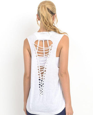 CUTOUT BACK MUSCLE TOP WITH LADDER STRAPS (WHITE)
