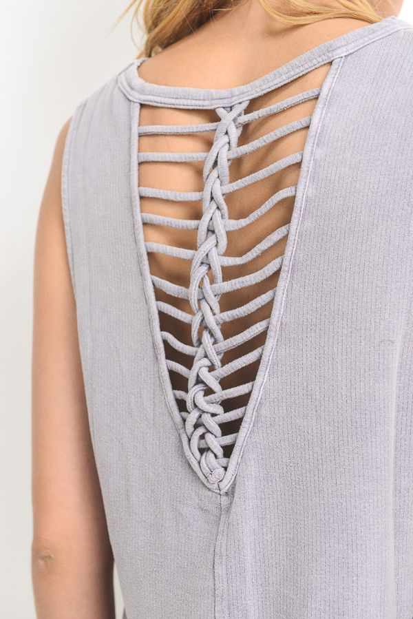 MINERAL WASHED BRAIDED STRAP ACCENT BLOUSE (LAVANDER)