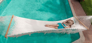 Shop for Nicaraguan hammock with spreader bars and fringe