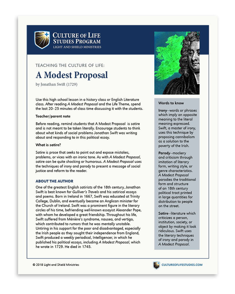Free e-Lesson A Modest Proposal by Jonathan Swift