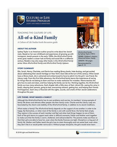 Book Discussion Guide: All-of-a-Kind Family by Sydney Taylor (Digital Download)