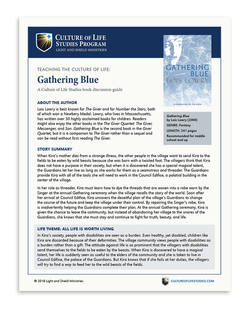 Book Discussion Guide: Gathering Blue by Lois Lowry (Digital Download)