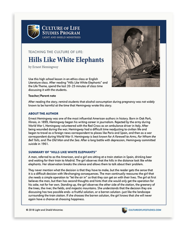 Free e-Lesson Hills Like White Elephants by Ernest Hemingway (Digital Download)
