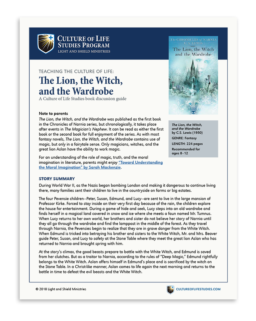 Book Discussion Guide: The Lion, the Witch, and the Wardrobe by C.S. Lewis (Digital Download)