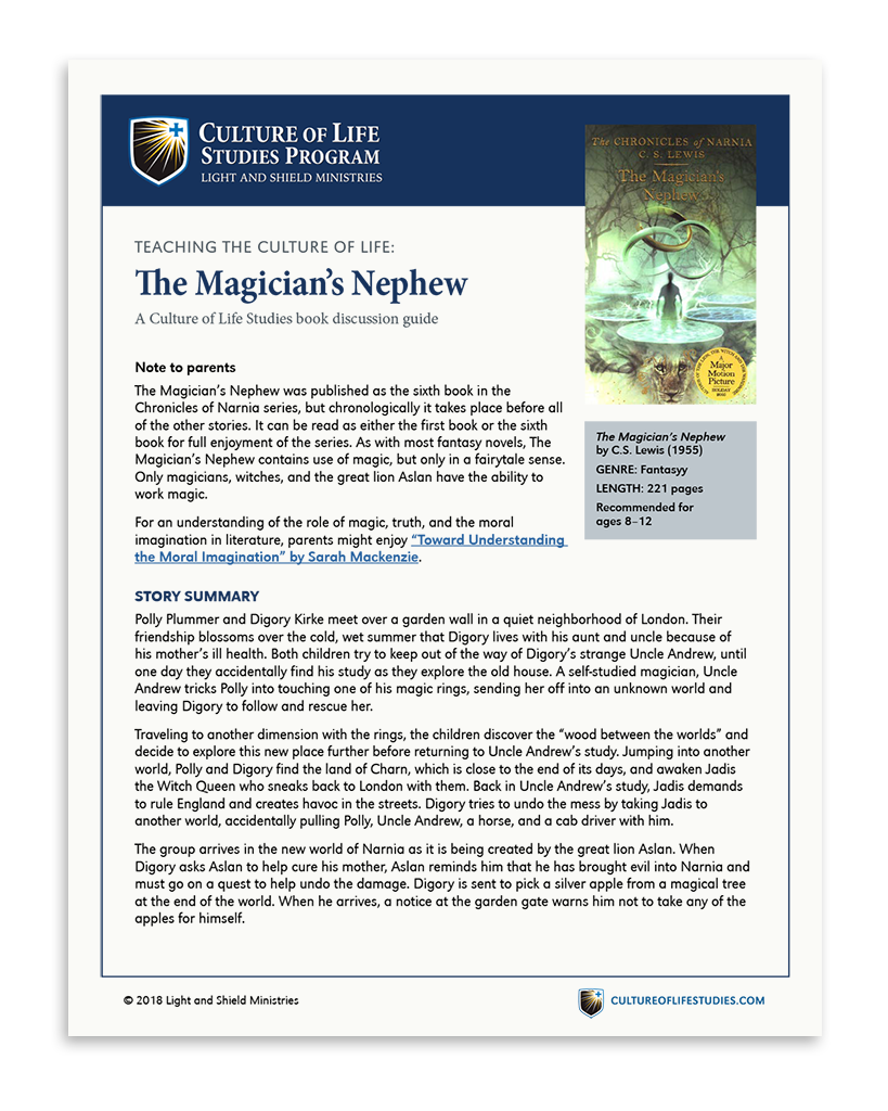Book Discussion Guide: The Magician's Nephew by C.S. Lewis (Digital Download)