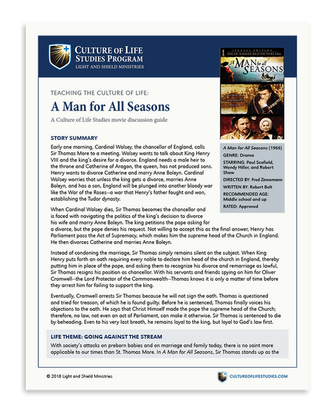 Movie Discussion Guide: A Man for All Seasons (1966) (Digital Download)