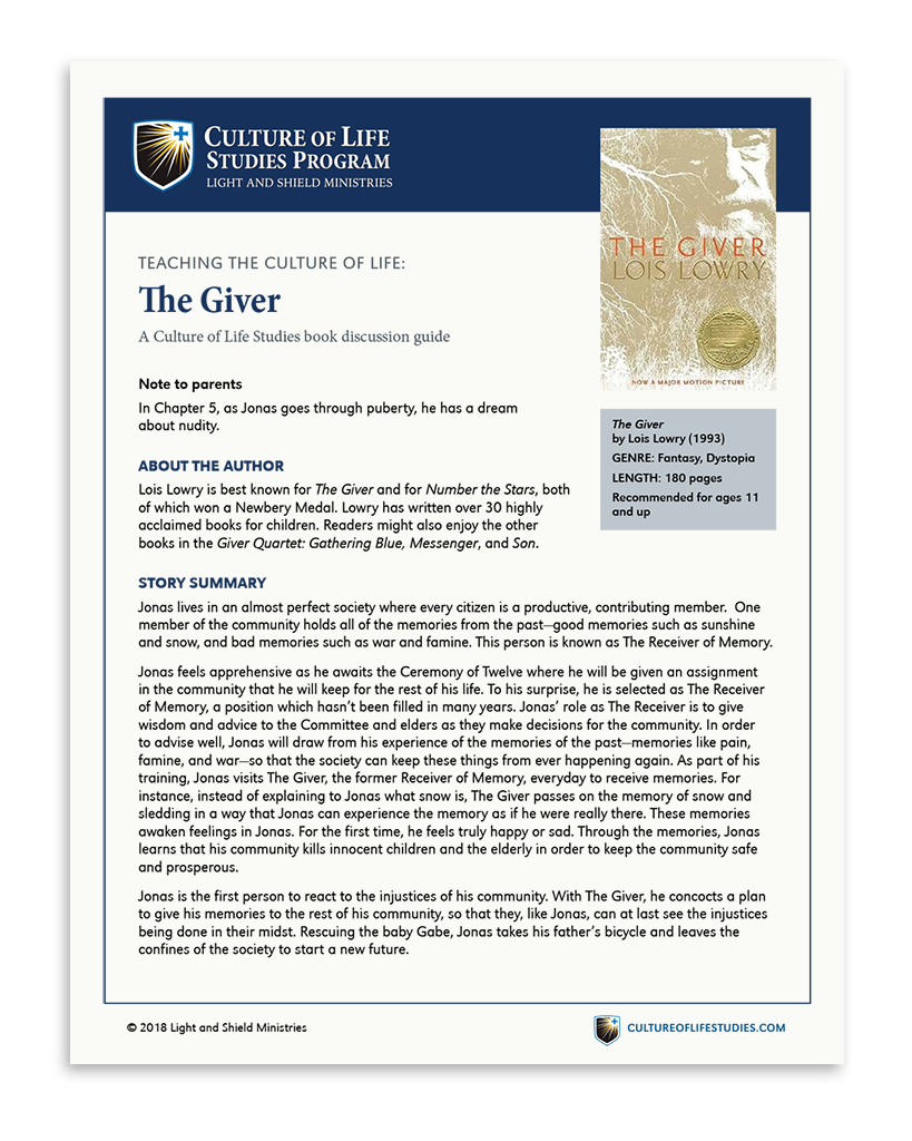 Book Discussion Guide: The Giver by Lois Lowry (Digital Download)