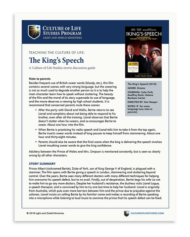 Movie Discussion Guide: The King's Speech (Digital Download)