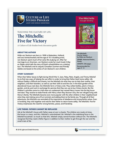 Book Discussion Guide: The Mitchells: Five  for Victory by Hilda van Stockum (Digital Download)
