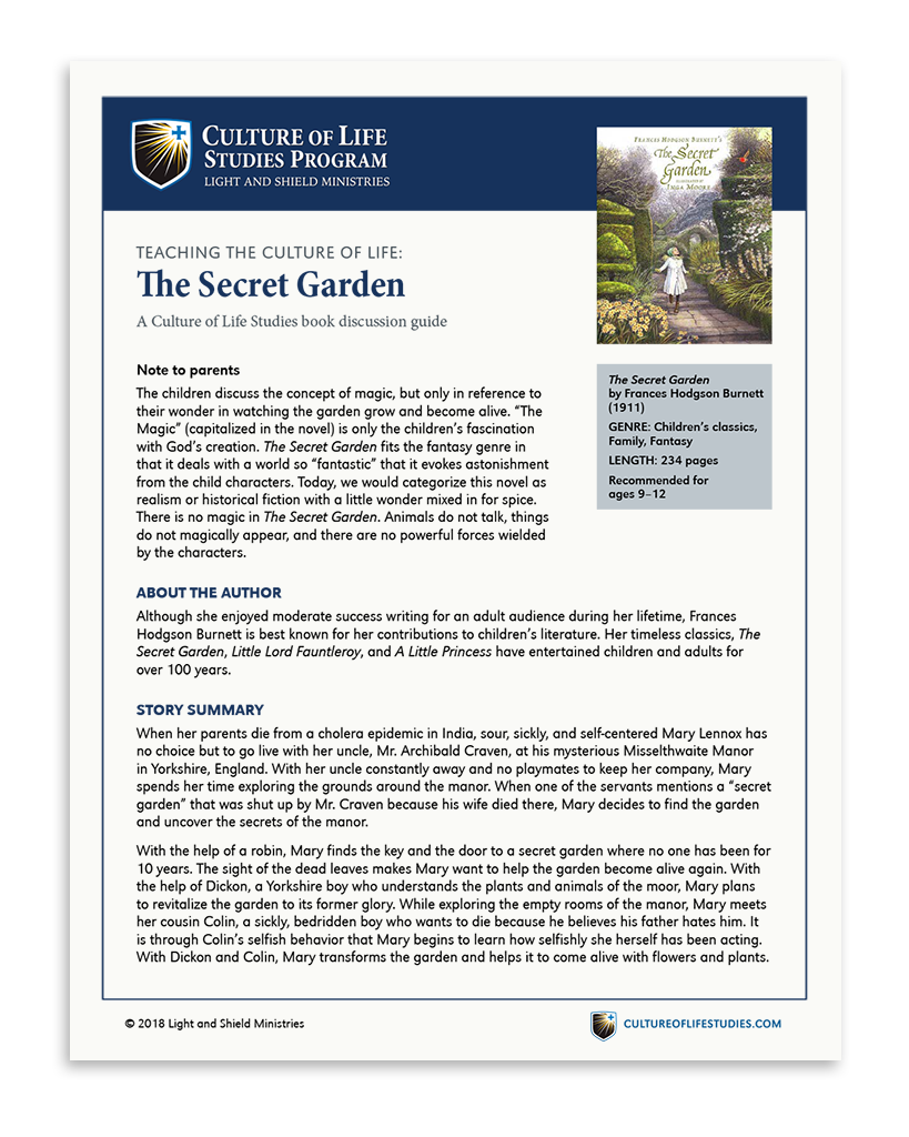 Book Discussion Guide: The Secret Garden by Frances Hodgson Burnett (Digital Download)