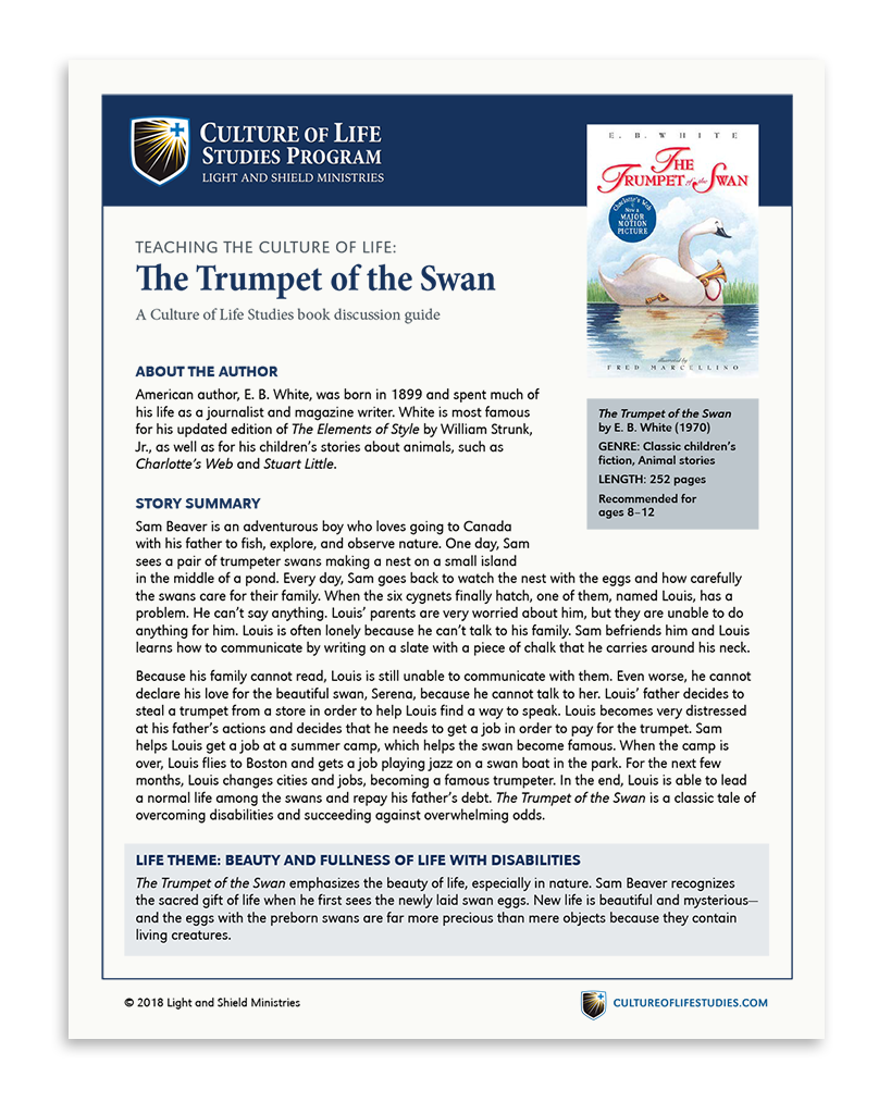 Book Discussion Guide: The Trumpet of the Swan by E. B. White (Digital Download)