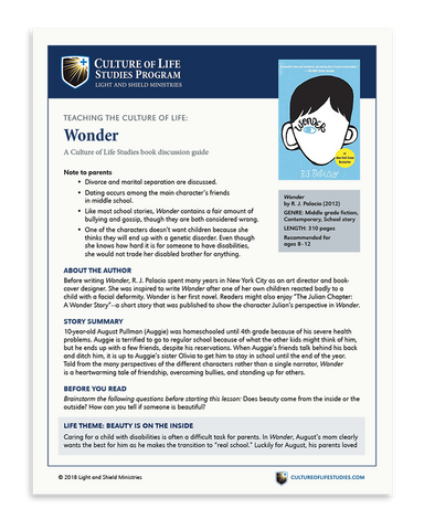 Book Discussion Guide: Wonder by R. J. Palacio (Digital Download)