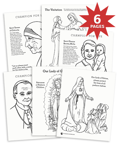 Pro-Life Saints Coloring Page Bundle (Digital Download)