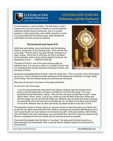 Conversation Starter: Politicians and the Eucharist (6-page instant download)