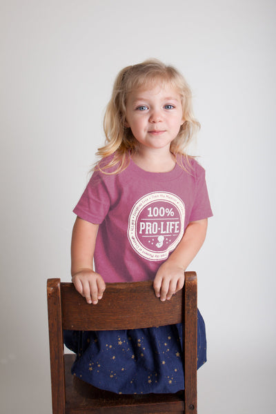 100% Pro-Life Youth T-Shirt