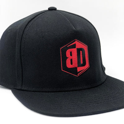 NEW Premium Puff Embroidered Snapback - Red / Black Logo