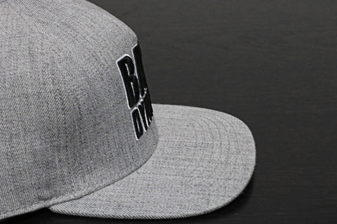 Premium Puff Embroidered Snapback - Light Grey (B/W)