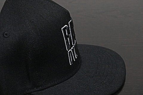 Premium Puff Embroidered Snapback - Black (B/W)