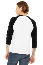Premium Black / White BELLA+CANVAS ® 3/4 Sleeve Baseball Tee
