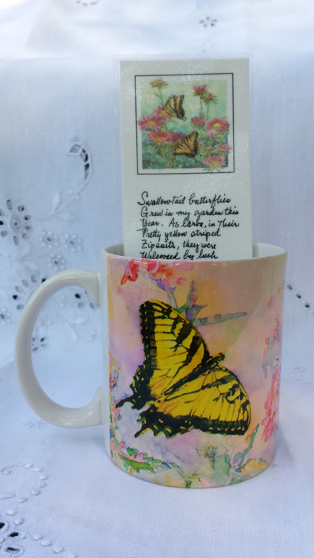 Cup / Mug & Bookmark - Swallowtail Butterflies on Verbena - a Favorite for a Morning Delight