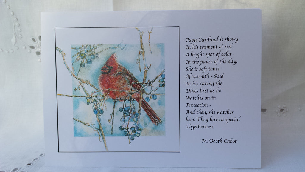 Greeting Card - Gift Set 1  - Cardinal, Bluebirds, Chickadee on Sumac, Goldfinch, Hummingbird, Woodland Chickadee