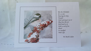 Greeting Card - 'Chickadee on Sumac II'