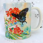 Cup / Mug & Bookmark - Swallowtail Butterflies on Butterfly Weed - a Favorite for a  Morning Delight