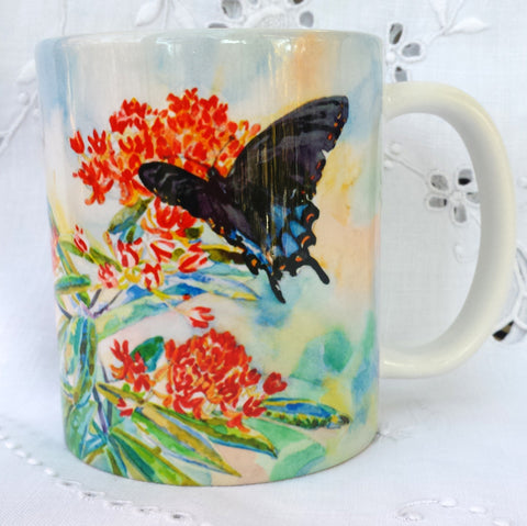 Cup/Mug & Bookmark -'Swallowtail Butterflies on Butterfly Weed' - a Favorite for a  Morning Delight