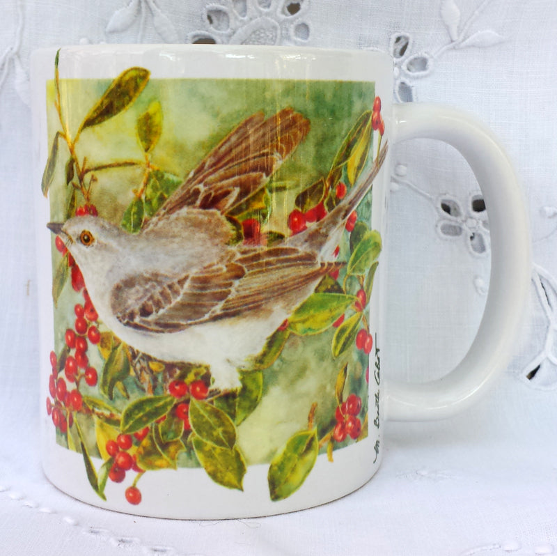 Cup / Mug & Bookmark - 'Mockingbird on Holly' - a Favorite for a Morning Delight