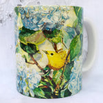 Cup / Mug & Bookmark - Hydrangeas & Warbler - a Favorite for a Morning Delight