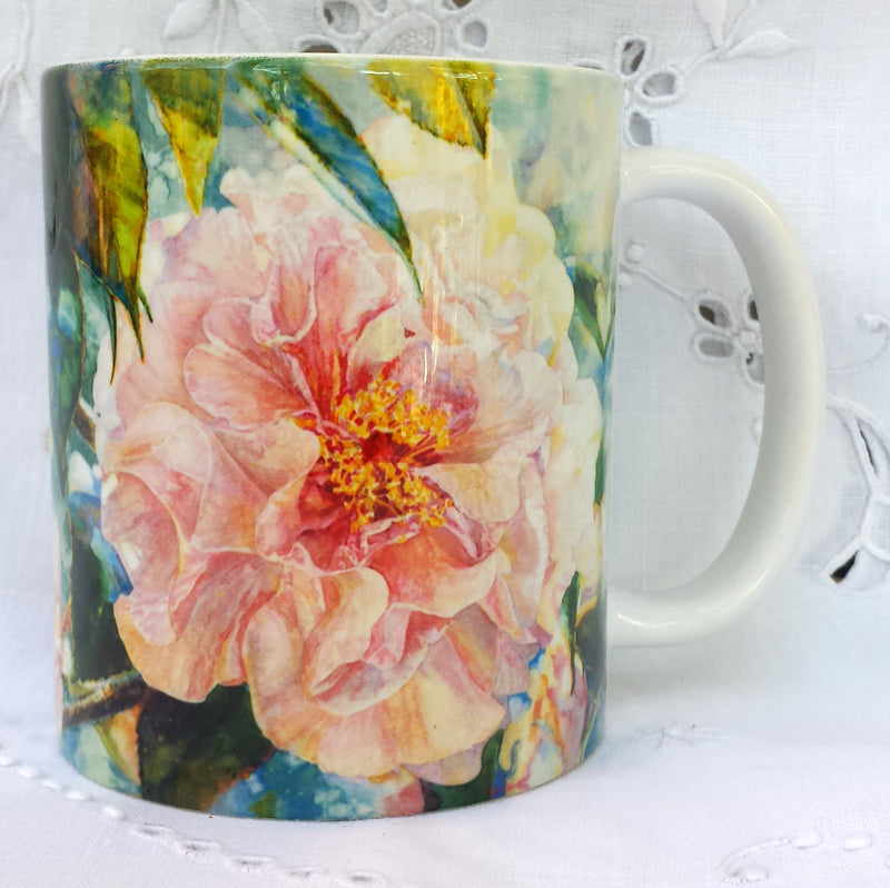 Cup / Mug & Bookmark - 'Camellia Pink Parade' - a Favorite for a Morning Delight