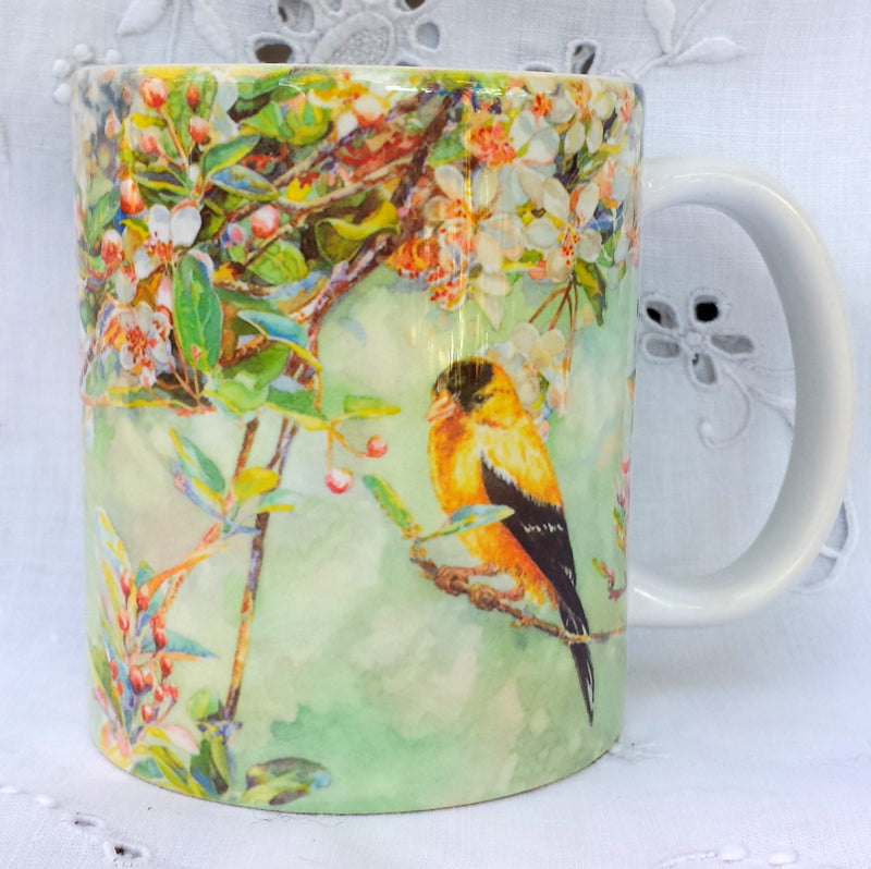 Cup / Mug & Bookmark - 'Goldfinches' - a Favorite for a  Morning Delight