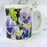 Cup / Mug & Bookmark - Blue and White Pansies - a Favorite for a Morning Delight