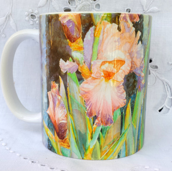 Cup / Mug & Bookmark - Bearded Iris 'Irish Lace II, Love Is'- a Favorite for a Morning Delight